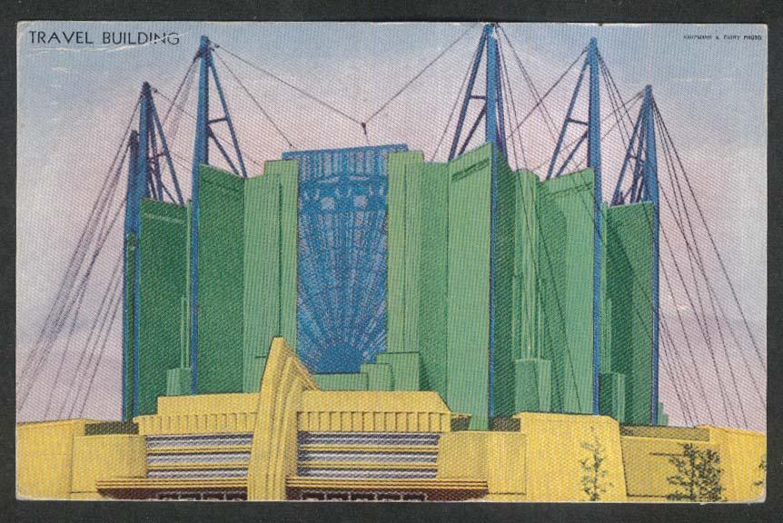 Travel Building Century of Progress Chicago 1933 International Expo postcard