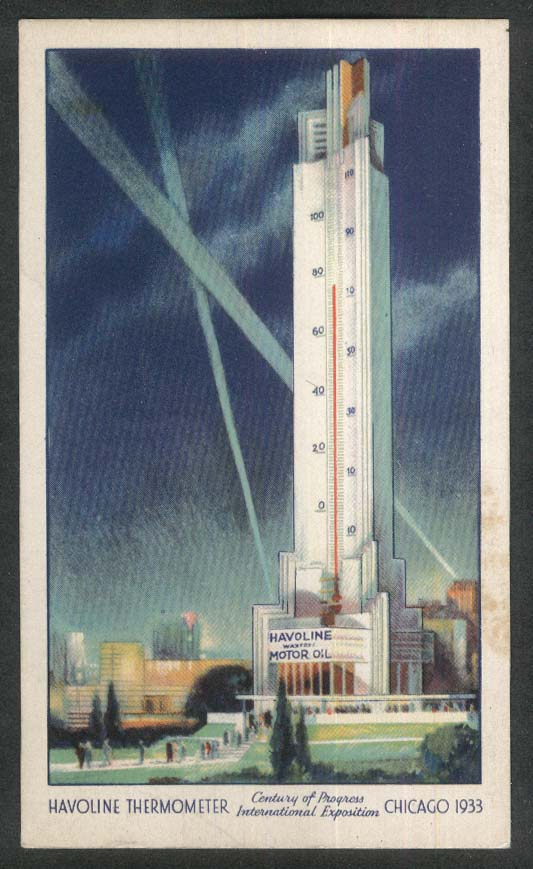 Havoline Thermometer Century of Progress International Chicago 1933 postcard
