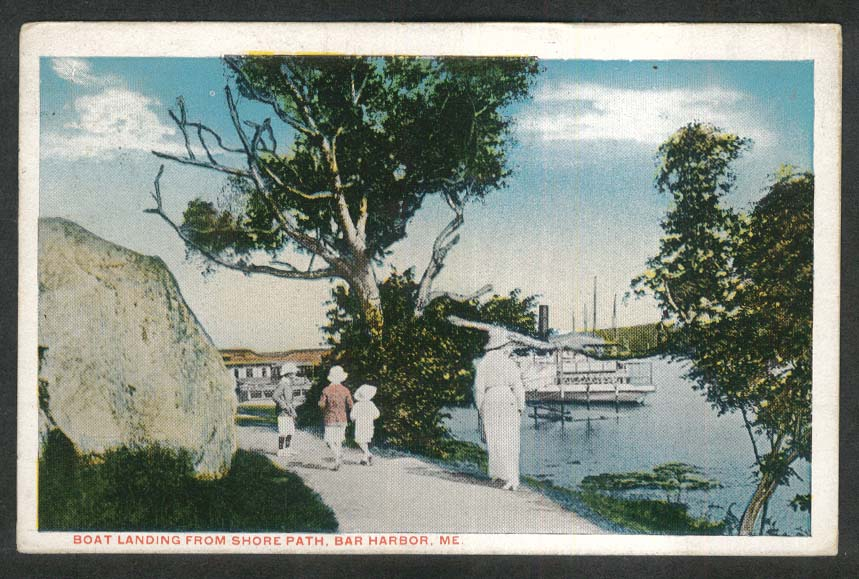 Boat Landing from Shore Path Bar Harbor ME postcard 1925