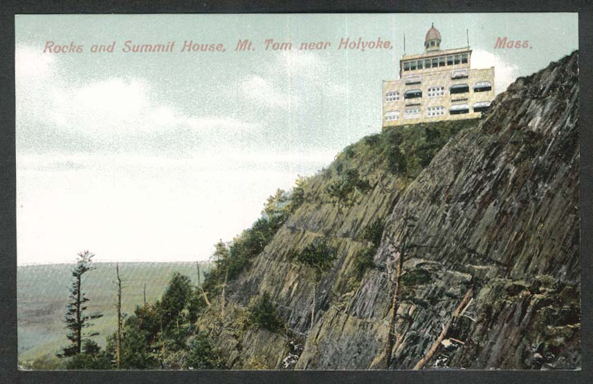 Rocks & Summit House Mt Tom near Holyoke MA postcard 1910s