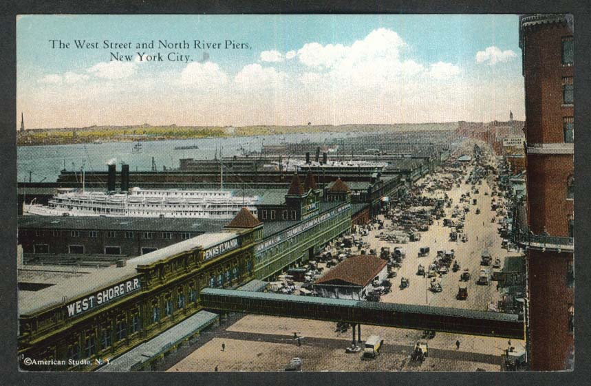 The West Street & North River Piers New York City NY postcard 1920s