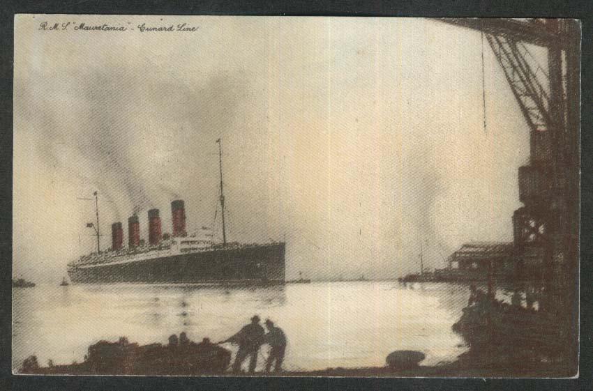 RMS Mauretania Cunard Line ocean liner postcard 1910s