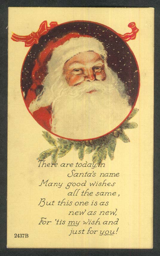 Santa Claus portrait garland snow Christmas postcard 1920s