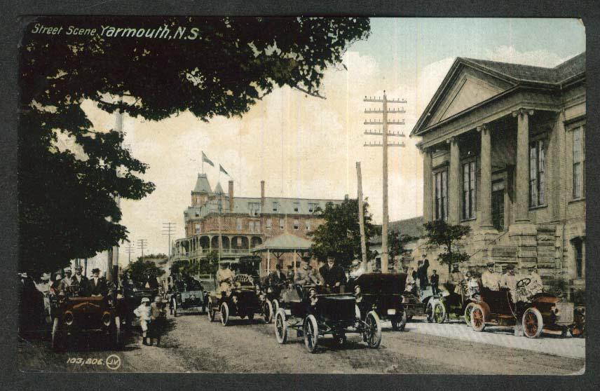 Street Scene Yarmouth Nova Scotia Canada postcard 1917