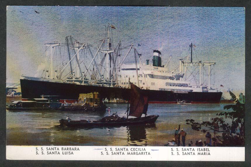 Grace Line SS Santa Barbara Cecilia Isabel Luisa Margarita Maria postcard 1956