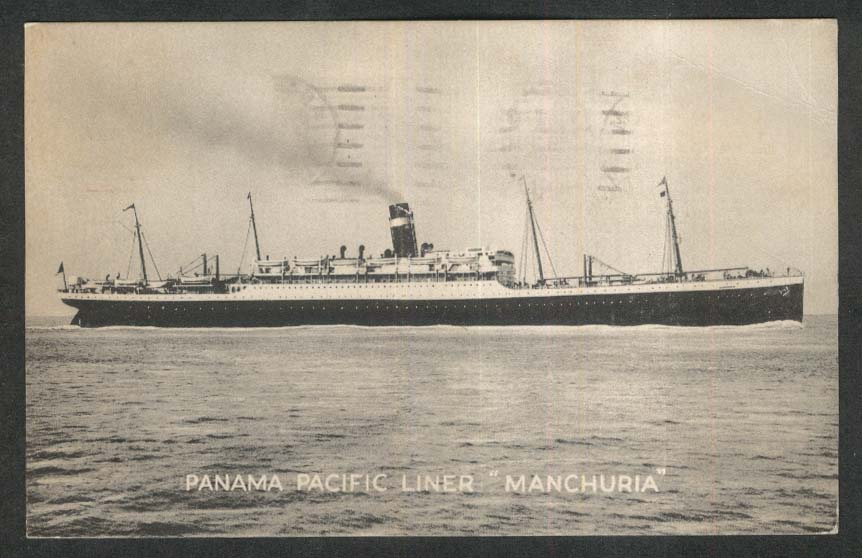Panama Pacific Line ocean liner SS Manchuria postcard 1927