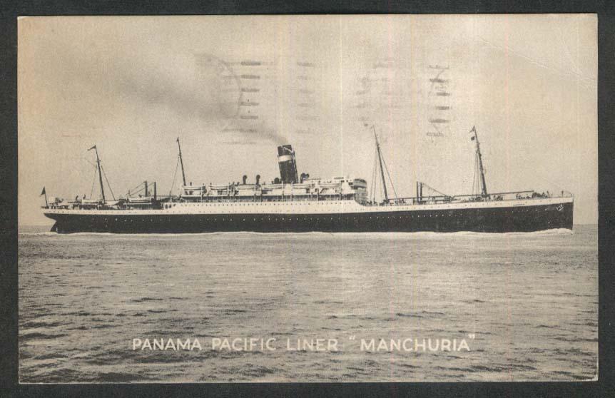 Panama Pacific Line ocean liner SS Manchuria postcard 1927