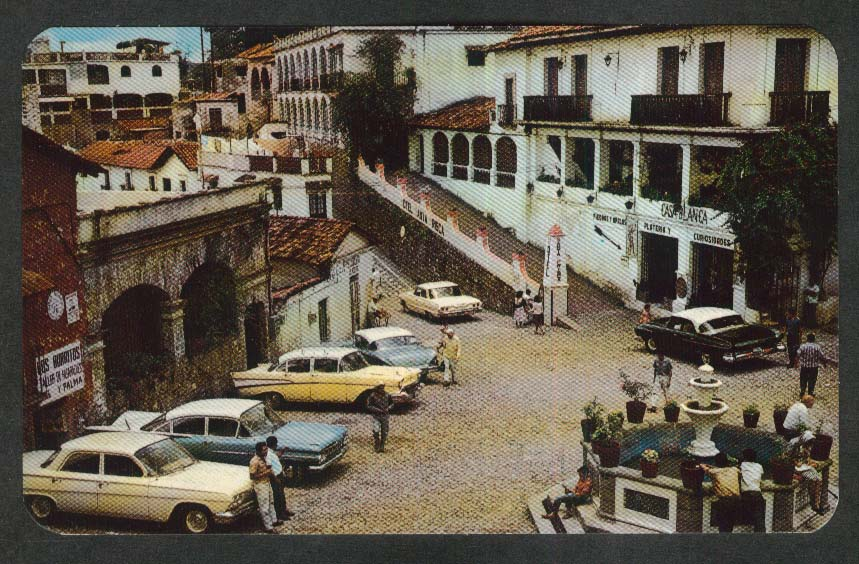 Colonial Fountain & Square Taxco Guerrero Mexico postcard 1950s
