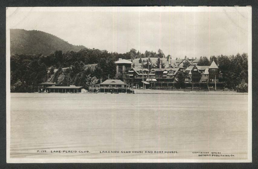 Lake Placid Club Lakeside Club House & Boat Houses NY RPPC postcard 1909