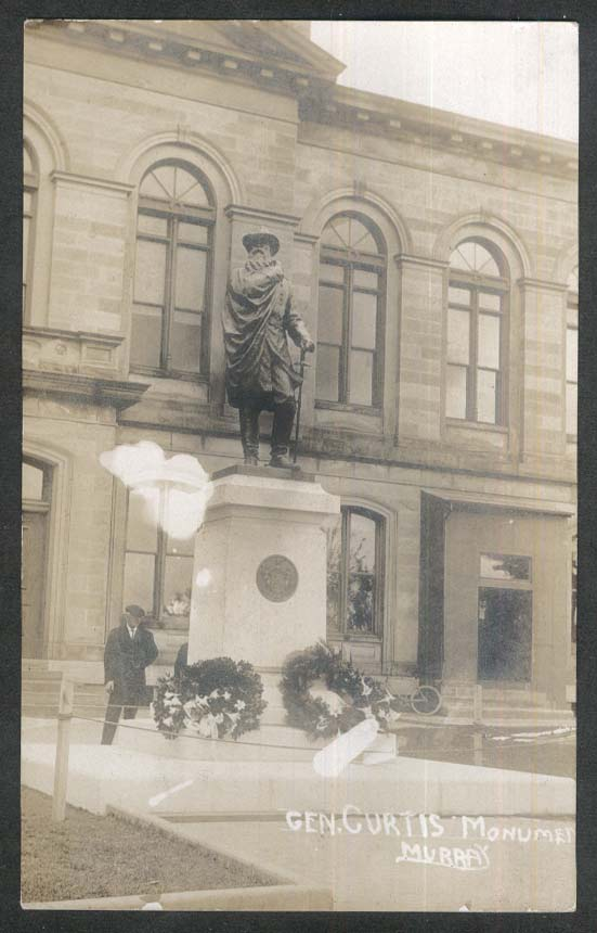 General Curtis Monument Murray IA RPPC postcard 1930s