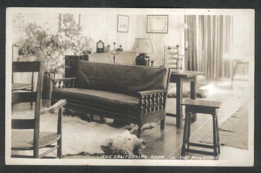 Bearskin Rug Californian Room in Ahwahnee Hotel Yosemite CA RPPC postcard 1930s