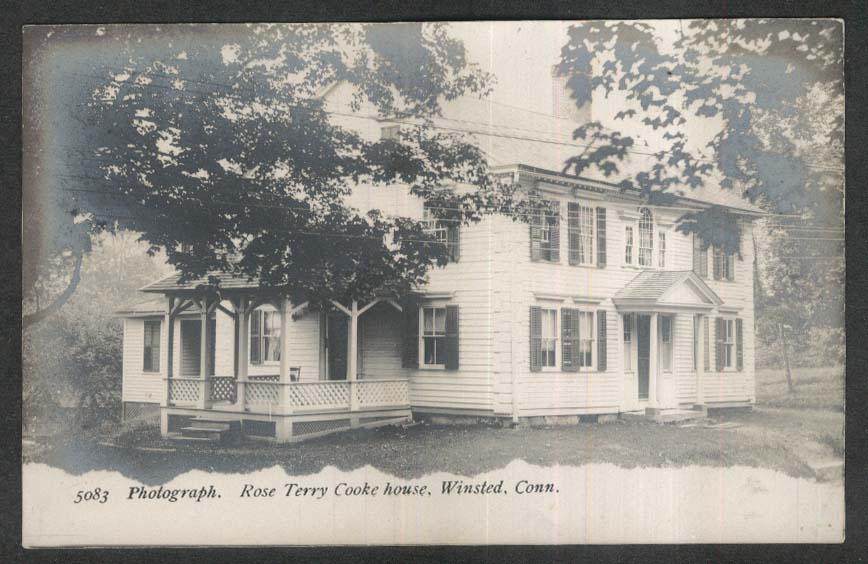 Rose Terry Cooke House Winsted CT RPPC postcard 1930s