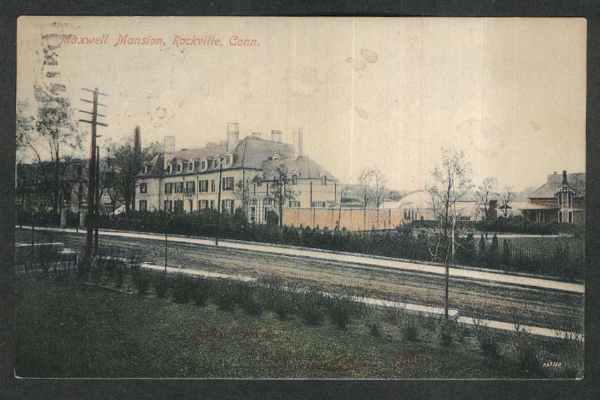 Maxwell Mansion Rockville CT postcard 1909