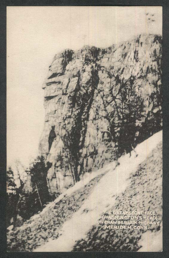 Great Stone Face Washington's Head Chamberlain Highway Meriden CT postcard 1954
