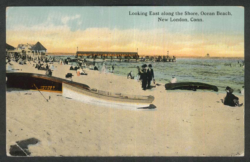 Looking East along the Shore Ocean Beach New London CT postcard 1912