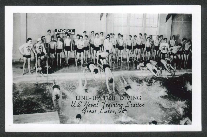 Diving US Naval Training Center Great Lakes IL RPPC postcard 1950s