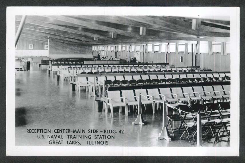 Reception Center US Naval Training Center Great Lakes IL RPPC postcard 1950s