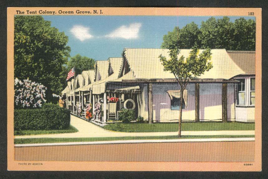 & The Tent Colony Ocean Grove NJ postcard 1930s