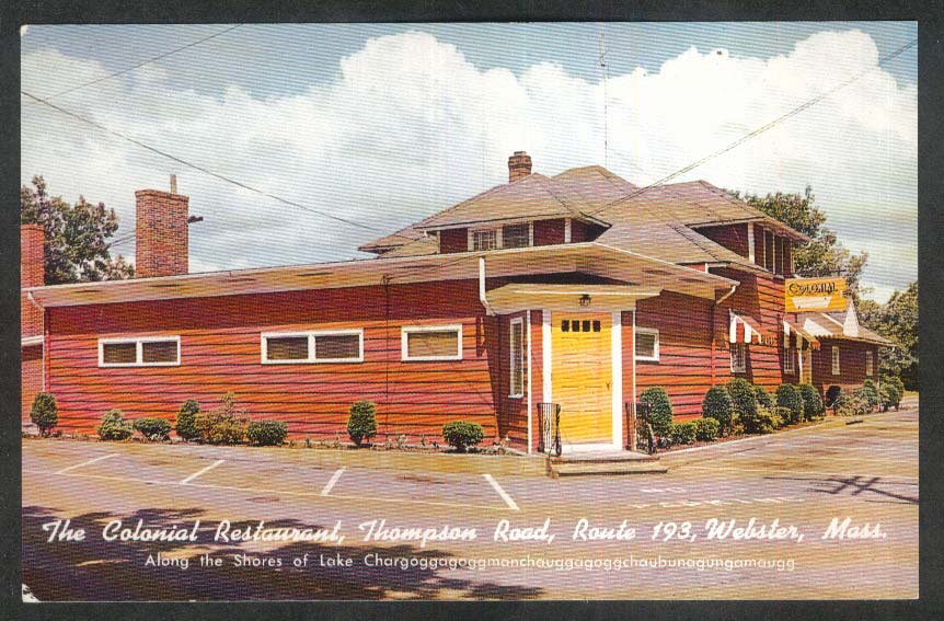 The Colonial Restaurant Thompson Road Route 193 Webster MA postcard 1950s