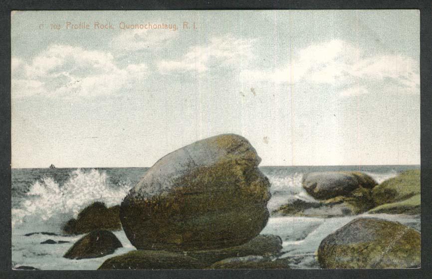 Profile Rock Quonochontaug RI postcard 1908