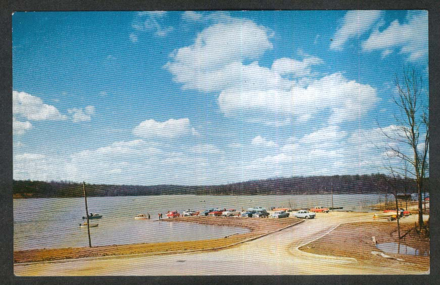 Boat Landing Lake Cataract Western Indiana Playground IN postcard 1950s