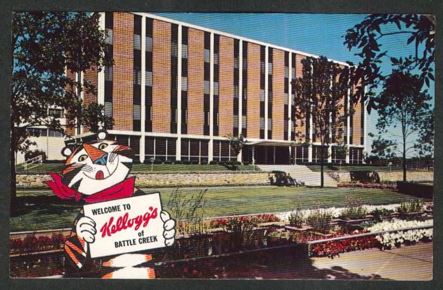 Kellogg Company Battle Creek MI postcard 1967 Tony the Tiger