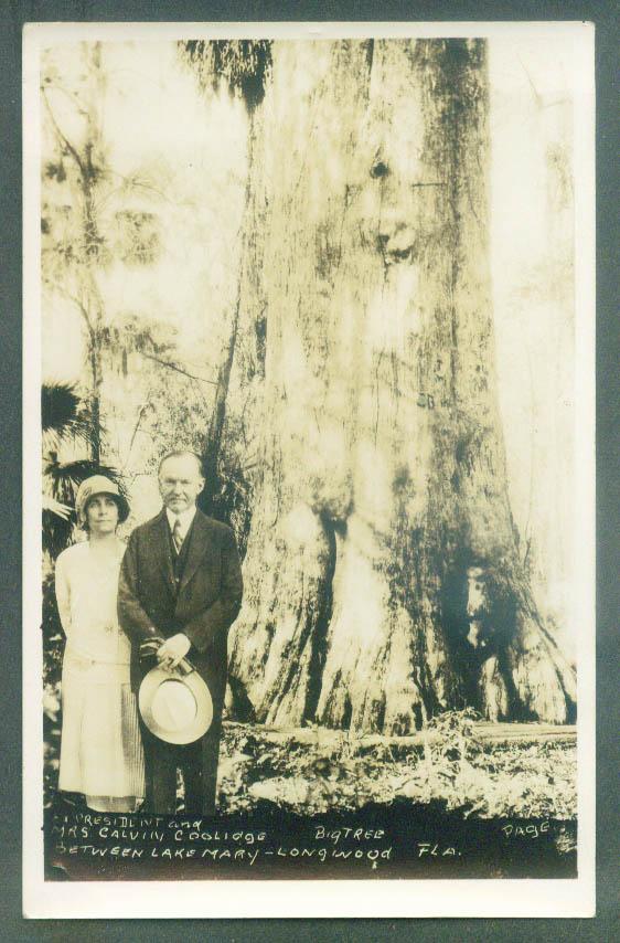 President & Mrs Coolidge & Big Tree Lake Mary Longwood FL RPPC 1920s