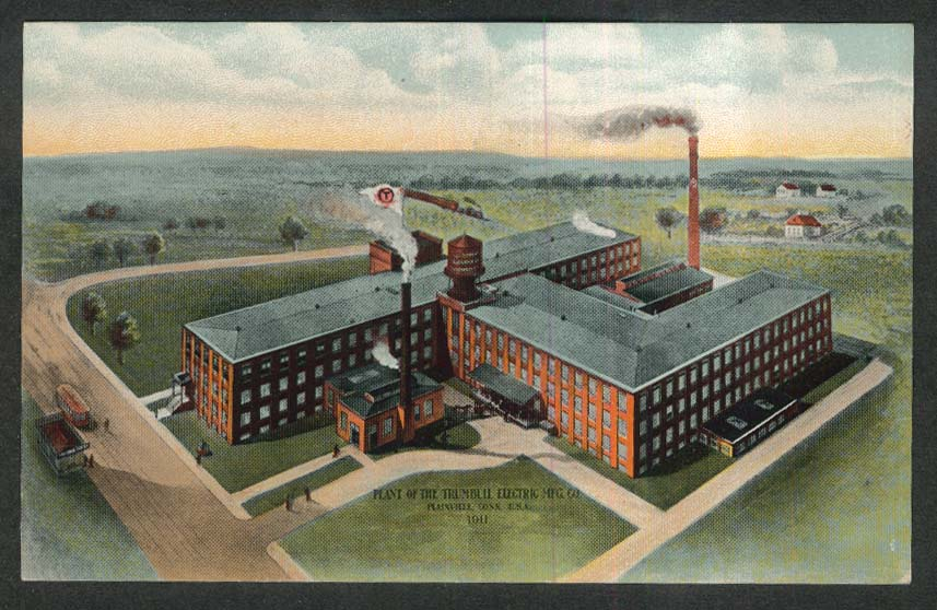 Trumbull Electric Manufacturing Co Plainville CT advertiisng postcard 1910s