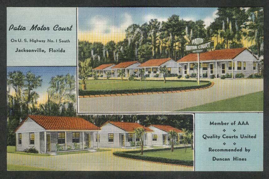 Patio Motor Court US Highway 1 Jacksonville FL Postcard 1930s Duncan Hines  AAA