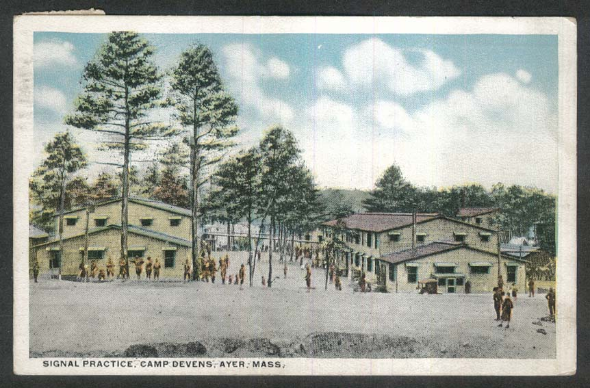 Signal Practice Camp Devens Ayer MA postcard 1920