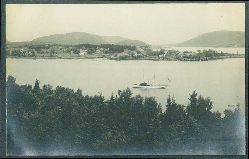 Yacht at anchor South West Harbor ME RPPC ca 1920s Jordan Pond House emblem