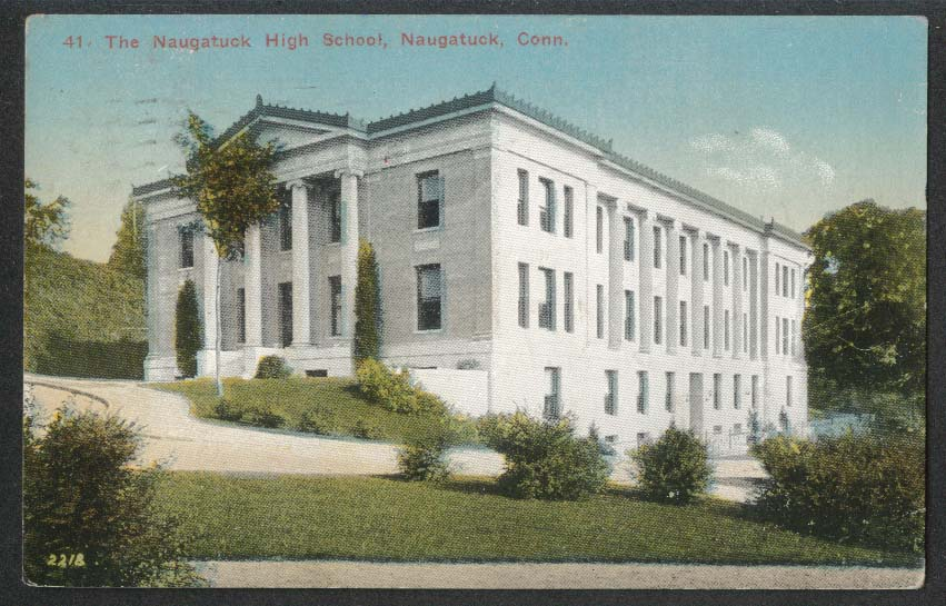 The Naugatuck High School Naugatuck CT postcard 1916