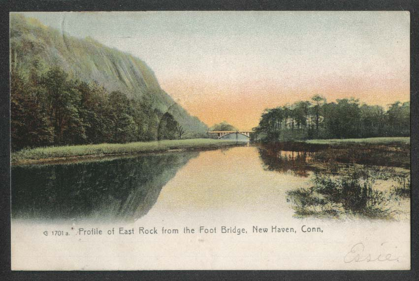 Profile of East Rock from Foot Bridge New Haven CT undivided back postcard 1907