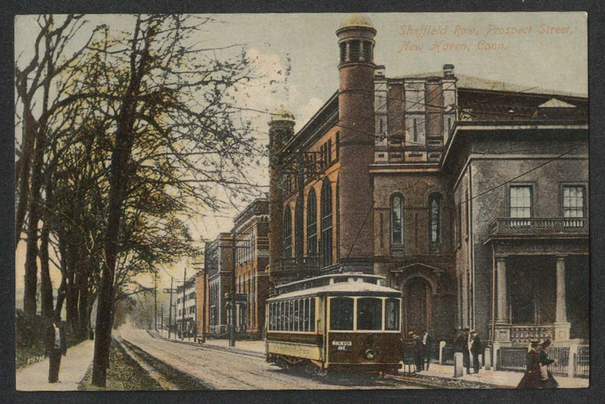 Winchester Ave Consolidated Trolley Sheffield Row New Haven CT postcard 1910s