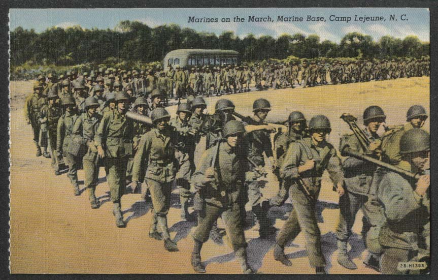Marines on the March Marine Base Camp Lejeune NC postcard 1940s