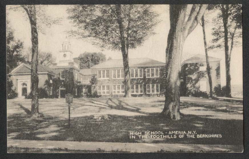High School Amenia NY in the Foothills of the Berkshires postcard 1950