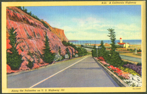 Railroad & Highway 101 Palisades CA postcard 1940s