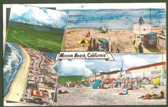 Mission Beach multiview postcard CA 1940s