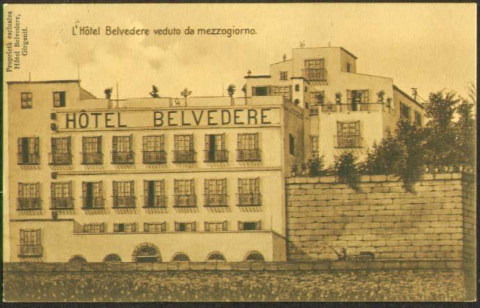 Hotel Belvedere Girgenti Italy postcard 1910s