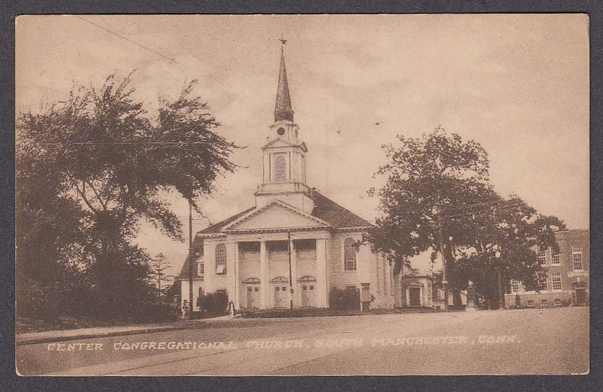 Center Congregational Church South Manchester CT postcard 1920s