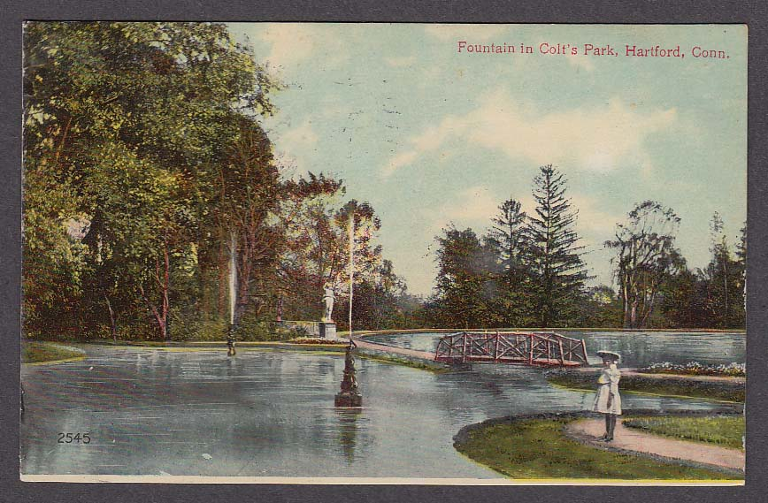 Fountain in Colt's Park Hartford CT postcard 1909