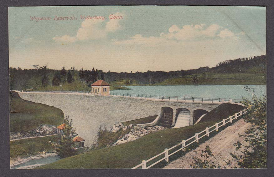 Wigwam Reservoir Waterbury CT postcard 1909