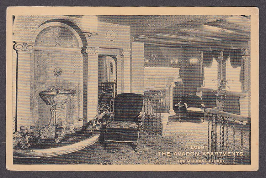 Lobby The Avadon Apartments 484 Melrose Street Brooklyn NY postcard 1920s