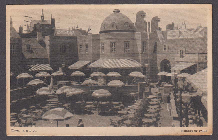 Streets of Paris Century of Progress 1933 Chicago World's Fair postcard