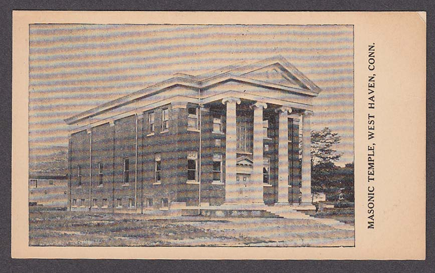 Masonic Temple West Haven CT postcard 1910s