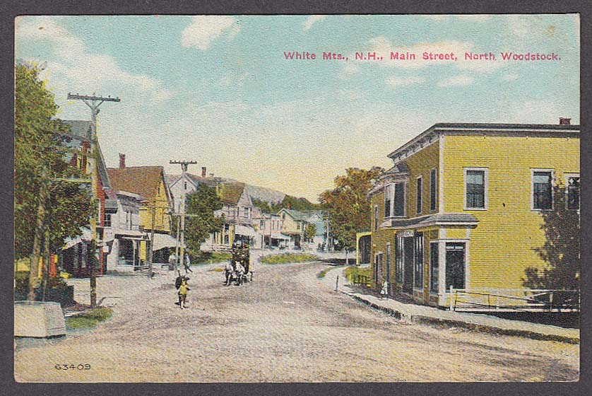 White Mountains NH Main Street North Woodstock postcard 1910s