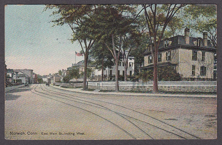 Norwich CT East Main Street looking West postcard 1909