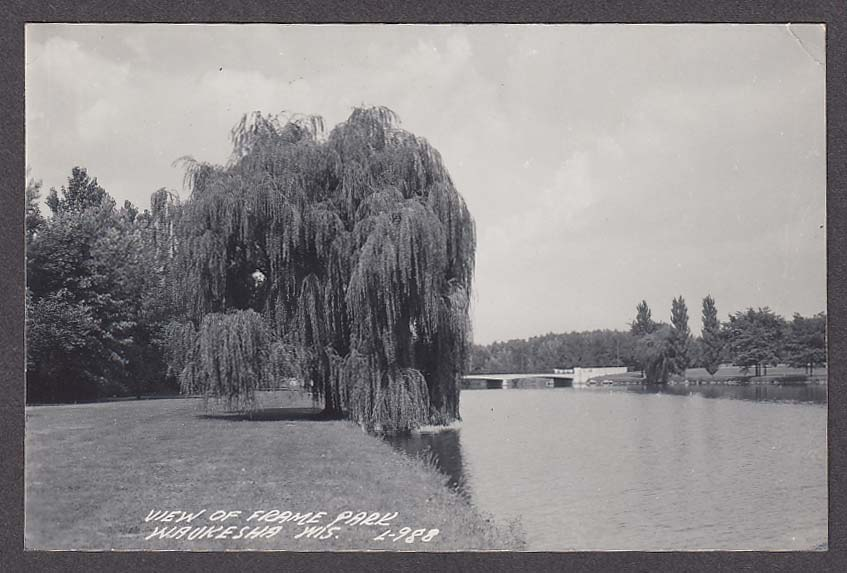 View of Frame Park Waukesha WI RPPC postcard 1950s