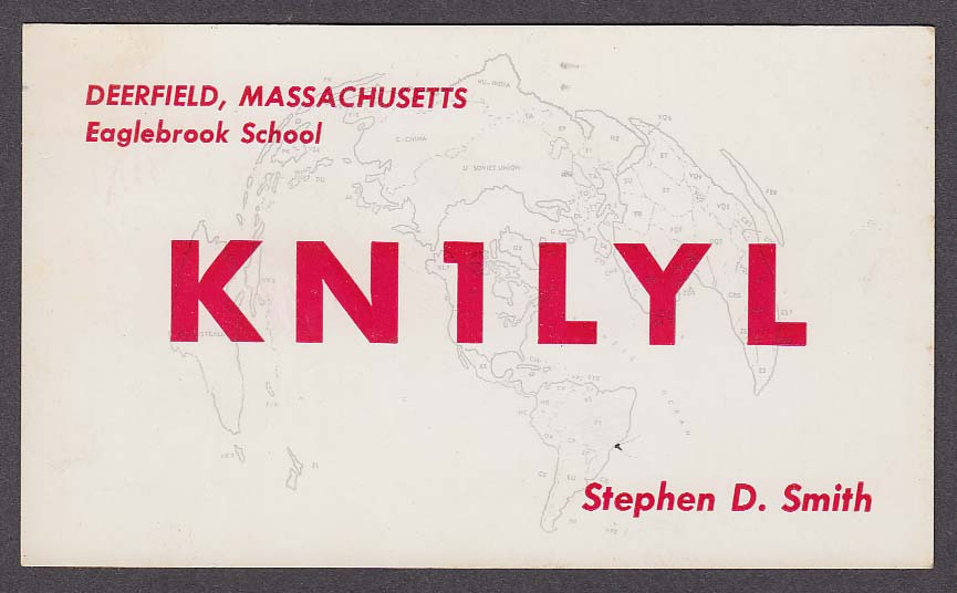 KN1LYL Stephen Smith Deerfield MA QSL card 1959