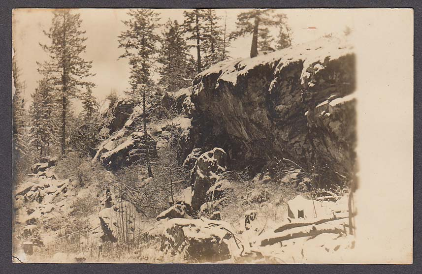 Snow Scene near Post Falls ID RPPC postcard 1930s